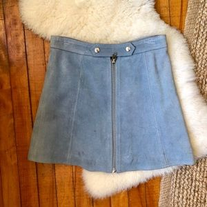 Topshop Suede Light Blue A Line Skirt